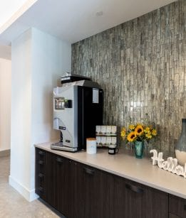 Coffee Station at luxury apartment complex in Framingham