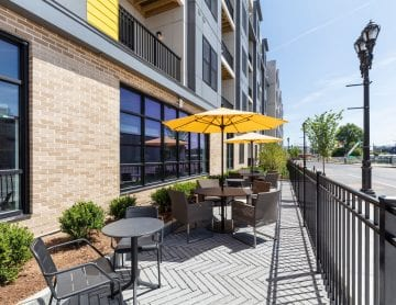 Exterior patio at luxury apartments for rent in Framingham