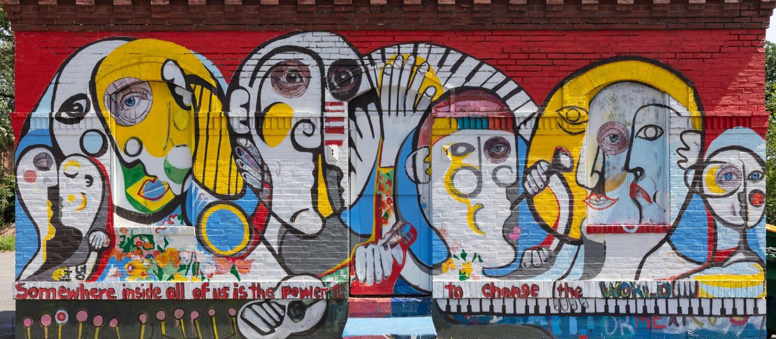 Mural outside modern apartments for rent in Framingham, MA