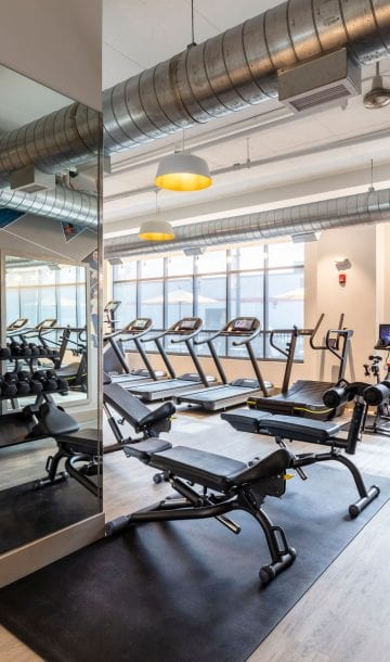 Luxury apartment complex with fitness center in Framingham